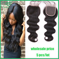 "5 Pcs/Lot Wholesale Price 7A Cheap Body Wave Virgin Brazilian Lace Closure 4""x4"" Human Hair Lace Closures With DHL Free Shipping"