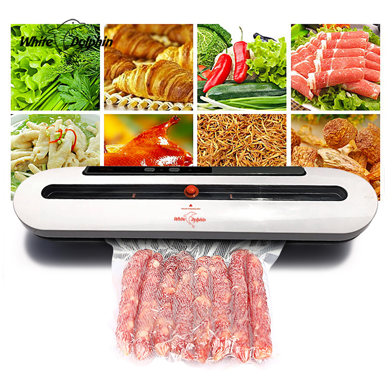 White Dolphin Vacuum Food Sealer 110V 220V Electric Household Mini Food Vacuum Sealer Packaging Machine With 10pcs Storage bags white dolphin vacuum food sealer 110v 220v electric household mini food vacuum sealer packaging machine with 10pcs storage bags