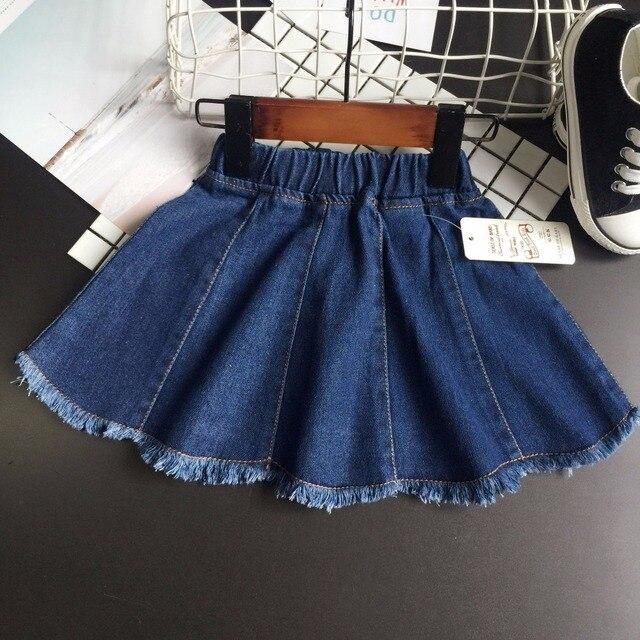 a8cce2e59f 2017 primavera niñas faldas niños mezclilla azul todo falda niño casual Jean  ropa borla niños faldas