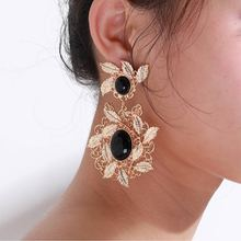 BK Female Fashion Leaf Earrings Personality Exaggeration Alloy Garland Earrings Imitating Gold Women Inlay Resin Earrings gold round leaf earrings