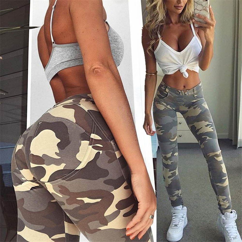 Image 4 - Sexy Workout Leggins High Waist Elastic Slim Pants Women Fitness Punk Trousers Camouflage For Printed  Sporting Casual Pants-in Leggings from Women's Clothing