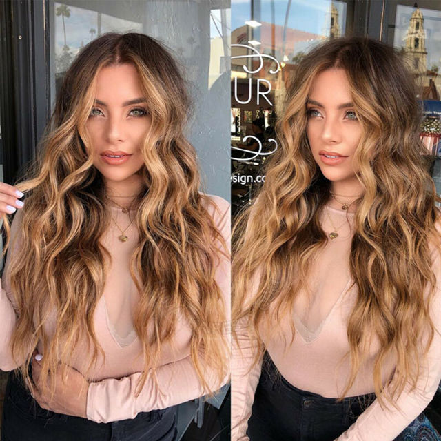 Women Fashion Synthetic Hair Lace Front Natural Wig Body Wavy Full Wig Blonde Party Holiday DIY Decorations 4