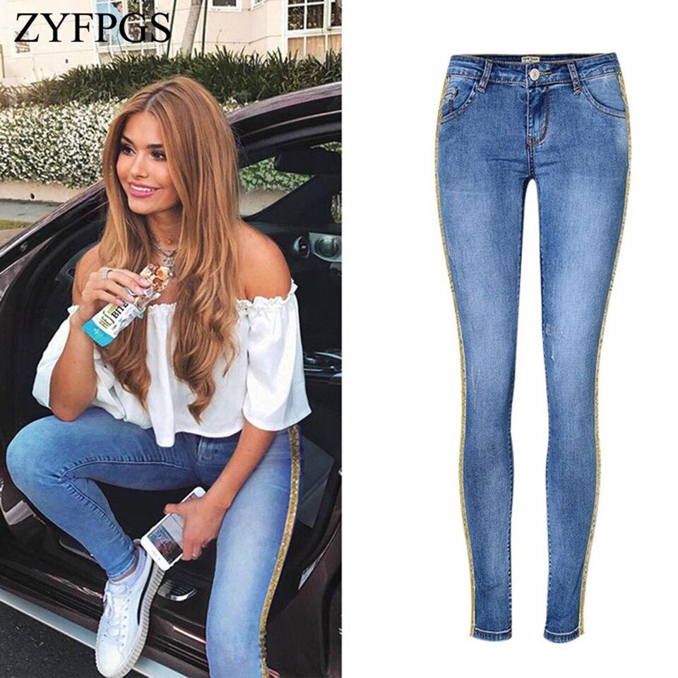 ZYFPGS printemps 2019 élasticité femmes Jeans bleu rétro décontracté femmes Jeans jaune ceinture décoration mode ventes Leader Z1218