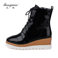 Fanyuan Women Platform Boots High Heels Ankle Boots Italian Fashion Lace Up Booties Womens Shoes Black Heeled Boots botas mujer