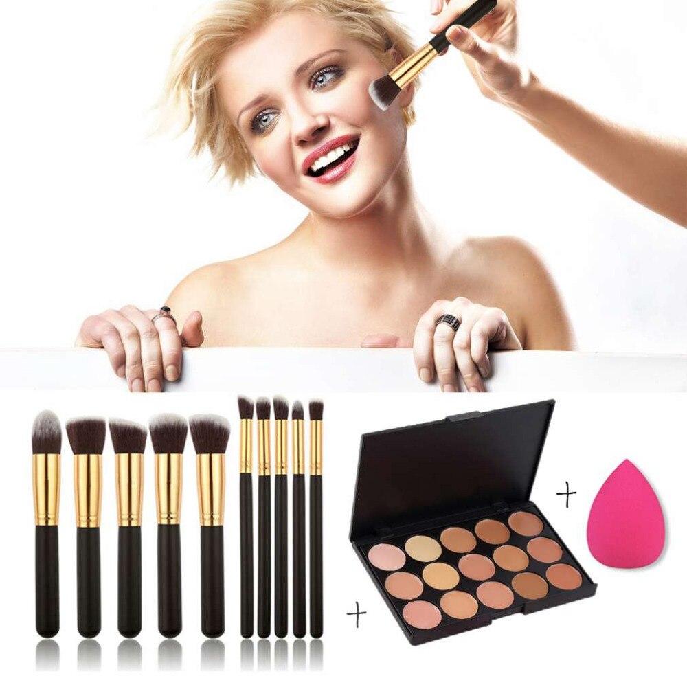 15-Colors Makeup Face Concealer Palette + 10pcs Brushes Set + Sponge Puff Fashion