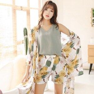 Image 5 - 春秋の女性パジャマ服 4 ピースセット女性のパジャマは nightsuit パジャマセットレジャー花 pijamas ホームウェア