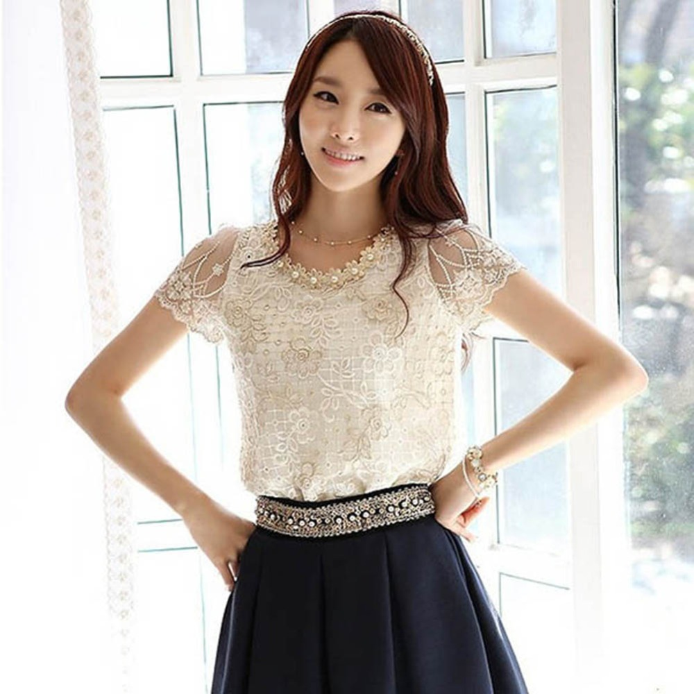 Summer Women Short Sleeve Lace Chiffon Blouse Tops Pearls Neck Flower shirt Lady 2017