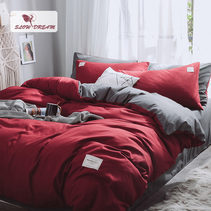 SlowDream Red Duvet Cover Gray Bed Flat Sheet Pillowcase Bed Linens Double Queen Decor Home Bedspread