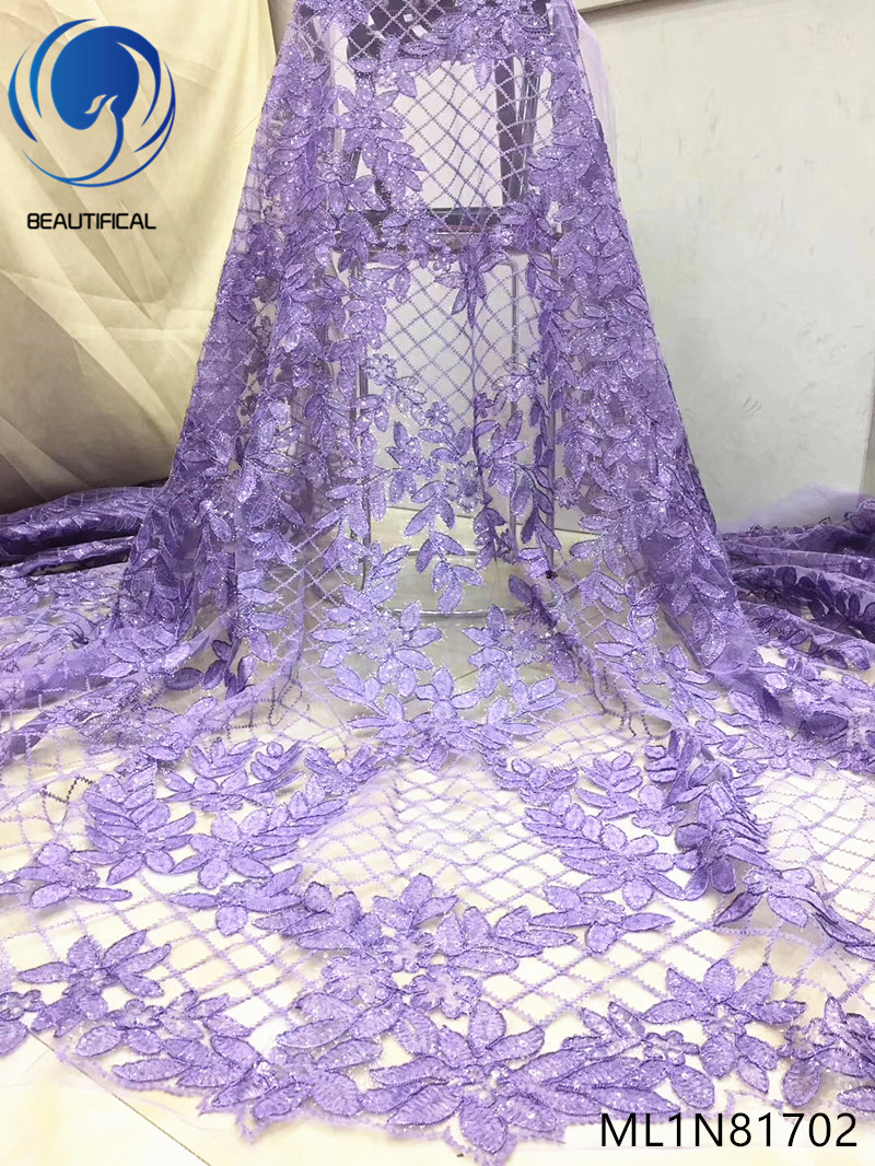 BEAUTIFICAL nigerian lace fabrics Fashion design tulle lace sequins fabrics for dress 5yards embroidery lace fabric ML1N817