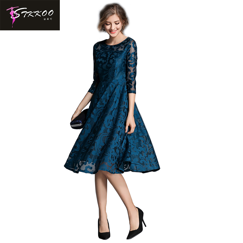 US $27.99 |Plus Size S XXL Women Royal Blue Hollow Out Lace Dress Knee  Length 2018 Spring Three Quarter Sleeve Dress Lady Office Dresses-in  Dresses ...