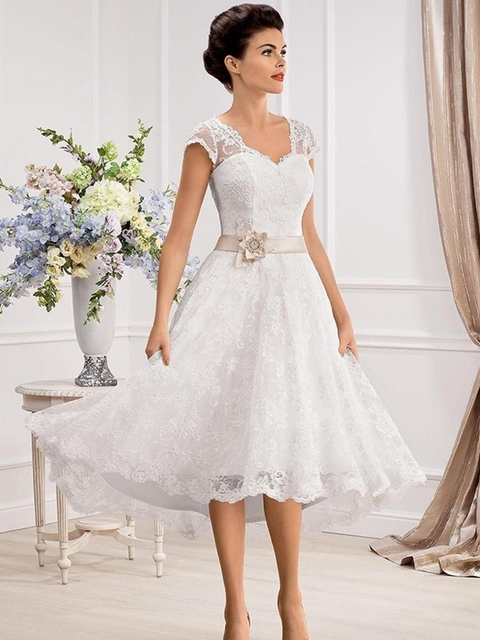 New Y Tulle A Line Lace Tea Length Wedding Dresses For Gowns
