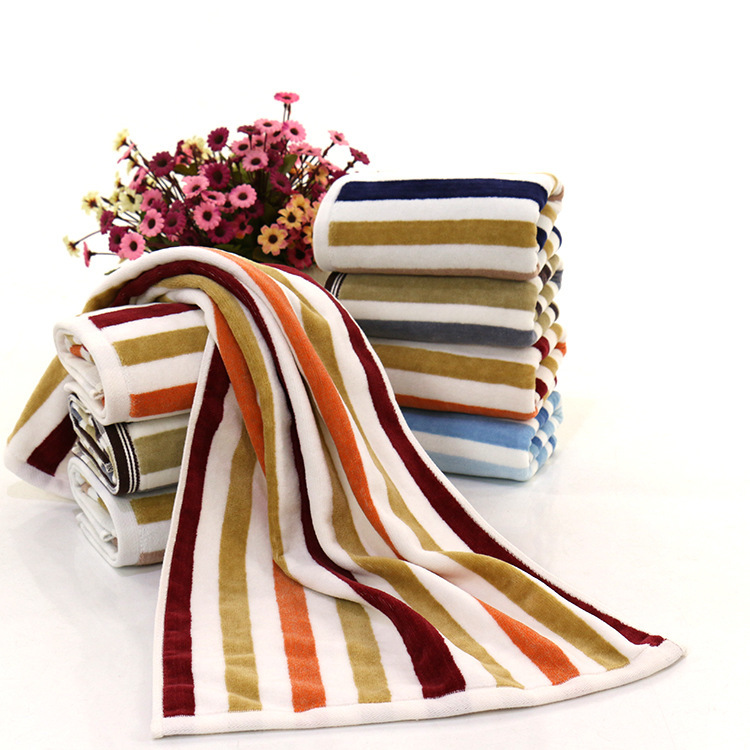 35x75cm Color Strip Thick Cotton Absorbent Washcloth Home Daily Necessities Grooming Face Towel Gym Sports Yoga Bath Towel