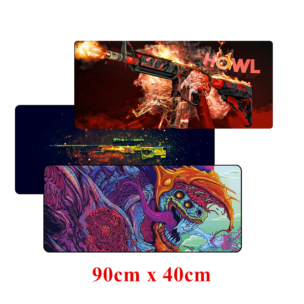 лучшая цена 90cm*40cm large CS:GO gaming mouse pad XXL big game Locking Edge mousepad keyboard desk mat CSGO hyper beast AWP Gamer mouse mat