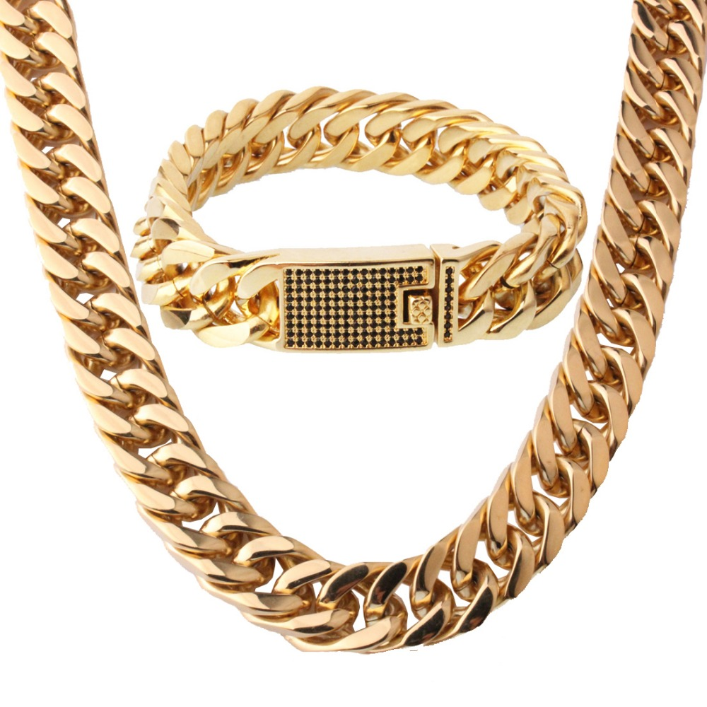 15MM Fashion 316L Stainless Steel Gold Tone Cuban Curb Chain Mens Necklace 23.6 And Bracelet 8.66 Jewelry Sets Black Crystal15MM Fashion 316L Stainless Steel Gold Tone Cuban Curb Chain Mens Necklace 23.6 And Bracelet 8.66 Jewelry Sets Black Crystal