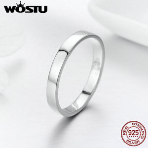 Image 1 - WOSTU Твердые чистое серебро 925 пробы простой перстень для женщин высокие полированные классические ретро часы кольца обручальные ювелирные изделия подарок FIR343
