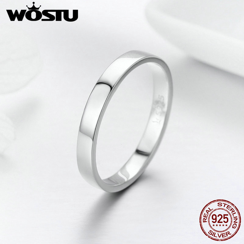 WOSTU Solid Pure 925 Sterling Silver Simple Finger Ring for Women High Polished Classic Band Rings Wedding Jewelry Gift FIR343-in Rings from Jewelry & Accessories