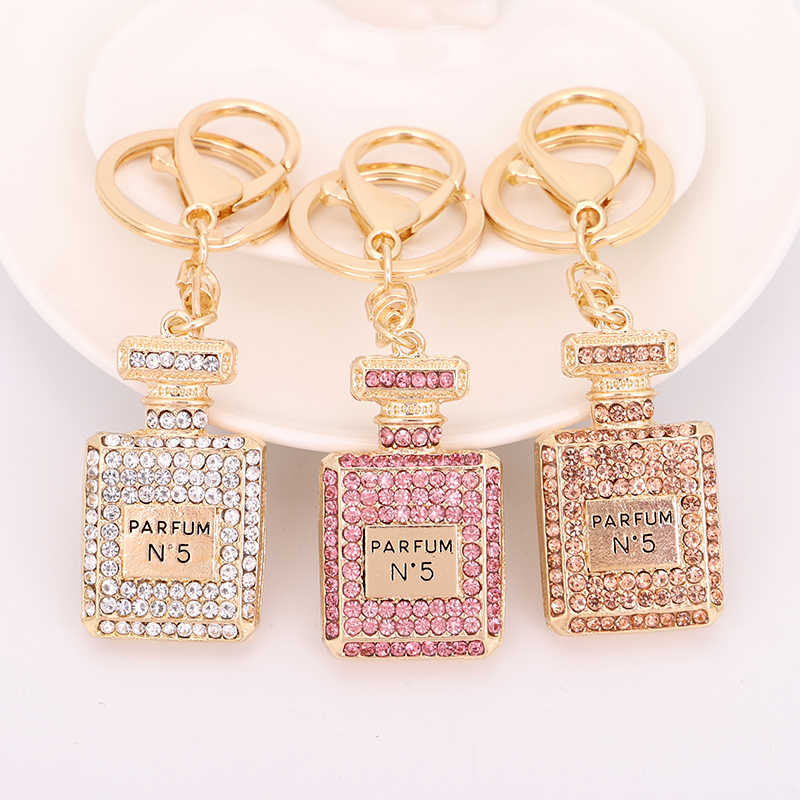 Crystal Perfume Bottle Keychain Bag Car Purse Key Chain Ring Pendant jewelry Keyring Gift Souvenir Wholesale