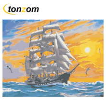 RIHE Ocean Boat Diy Painting By Numbers Sunrise Oil On Canvas Hand Painted Cuadros Decoracion Acrylic Paint Home Art