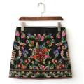 Vintage Retro Bohemian Hippie Boho Lolita Harajuku Jupe Etek Micro Faldas Saia Midi Floral Embroidery Mini Women Pencil Skirt