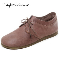 Plus Size Women Boat Shoes Lace Up Genuine Leather Women Flats 2020 Spring Autumn Coffee Camel Beige Casual Ladies Shoes PF865