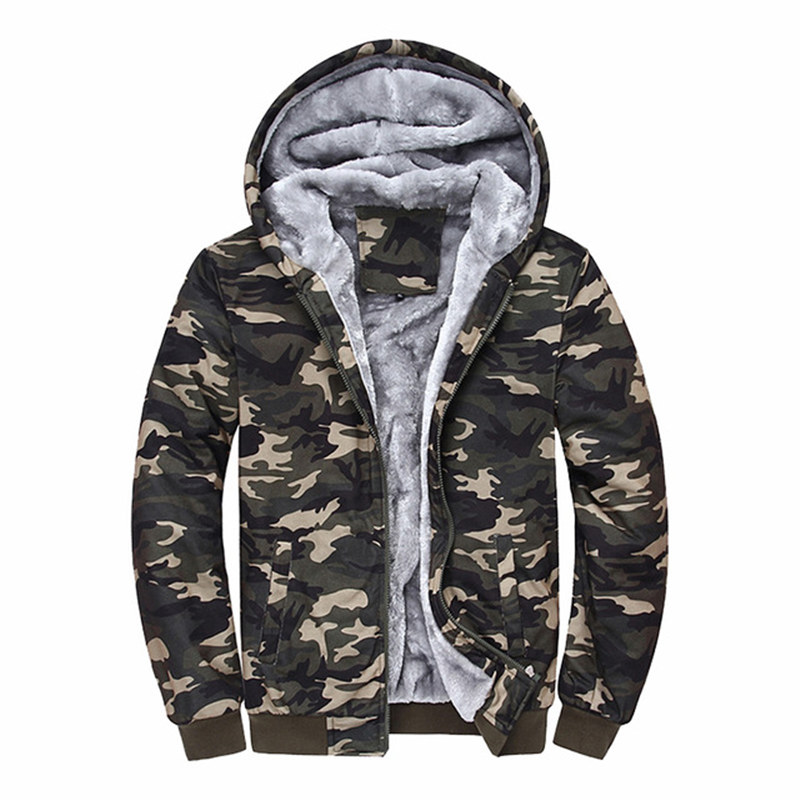 Hombre 2018 Brand Clothing Camouflage Hoodies Tracksuits Velvet Fleece Thick Camo Mens Hoodies And Sweatshirts