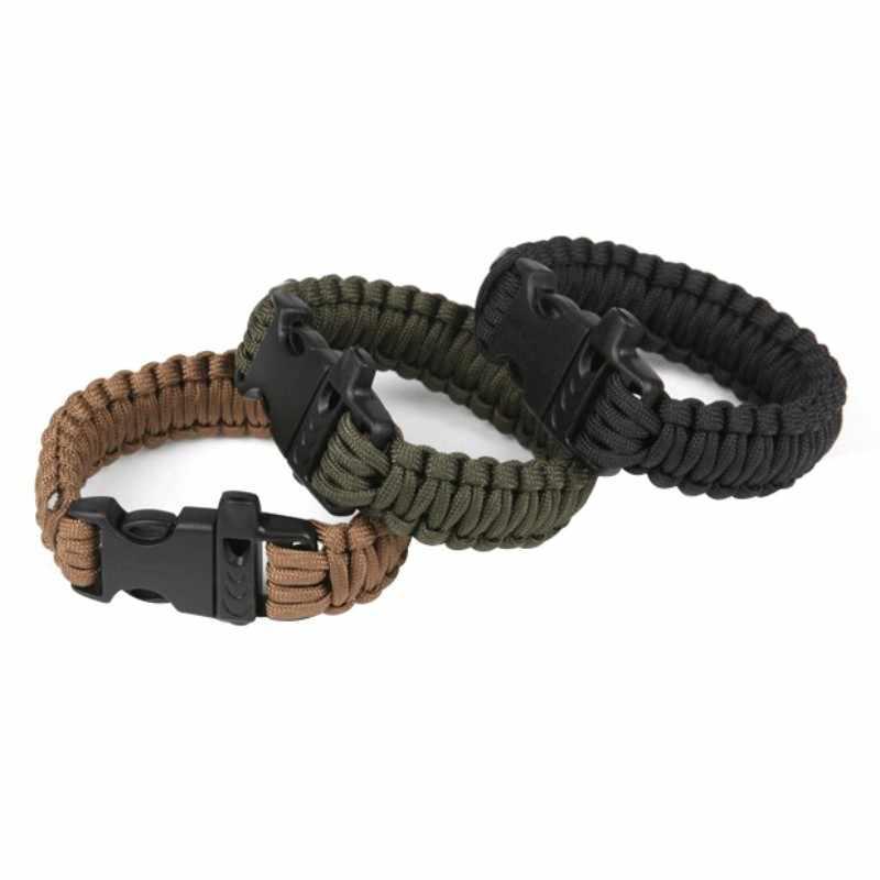 ホットアウトドアキャンプレスキュー Paracord ブレスレット & 笛ポータブルパラシュートコード男性緊急ロープサバイバルステンレスバックル