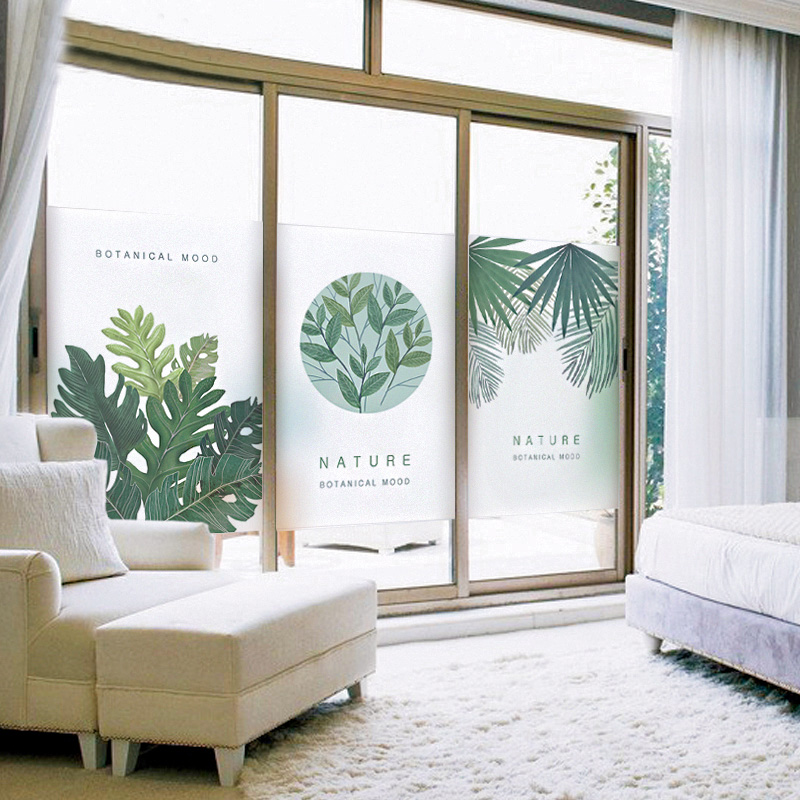 The frosted glass film electrostatic plant bathroom bathroom office room window stickers transparent opaque paper