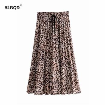 Summer Vintage High Waist Pleated Skirt Leopard Print Skirts Womens Punk Rock Korean Style Boho Streetwear A-Line Jupe Femme Юбка
