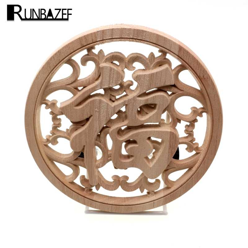 RUNBAZEF Chinese Elements Circular Wood Carved Decal Corner Applique Decorate Frame Doors Furniture Wooden Decorative Crafts