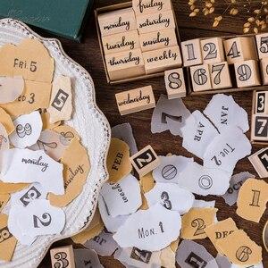 Image 2 - Timbres en caoutchouc, Vintage nombres créatifs, timbres de la semaine, timbres en bois, papeterie pour scrapbooking, standard, 1 ensemble, DIY bricolage