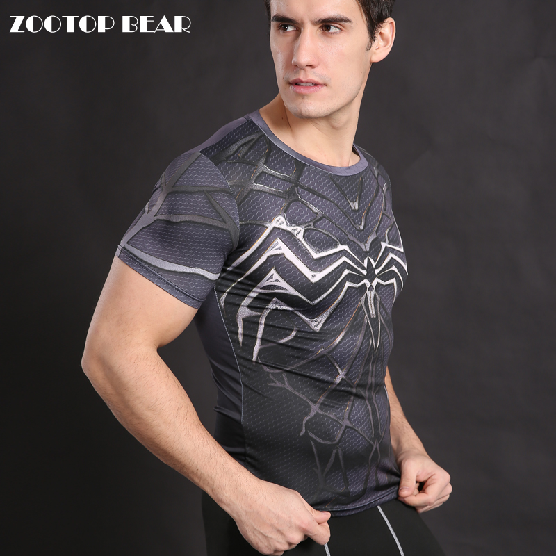 spiderman costume Venom T-shirt Armor Shirt Compression Men T shirt Cosplay Badass Black Spiderman tops Male Tees ZOOTOP BEAR
