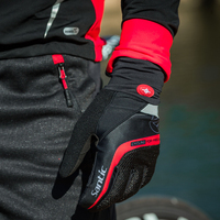 Santic Cycling Gloves Men Red Black Gel Warm Full Finger with Touch Function Shockproof Keep Warm for Early Winter Autumn C09046