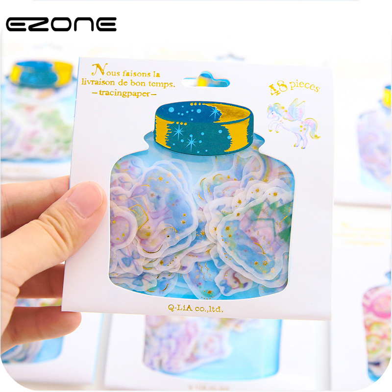 EZONE New Sweet Drifting Bottle Series Gift Seal Flake Sticker Pack Hot Selling Decoration Packing Stickers Students Stationery