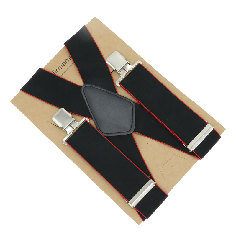 5cm X-back Patchwork 4 Clips Men's Fashion Shirt Brace Suspender Black And Red Mixed Color Business Use