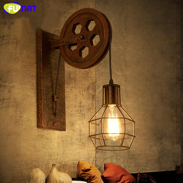 Fumat Pulley Wall Lamps Loft Industrial Vintage Wall Light
