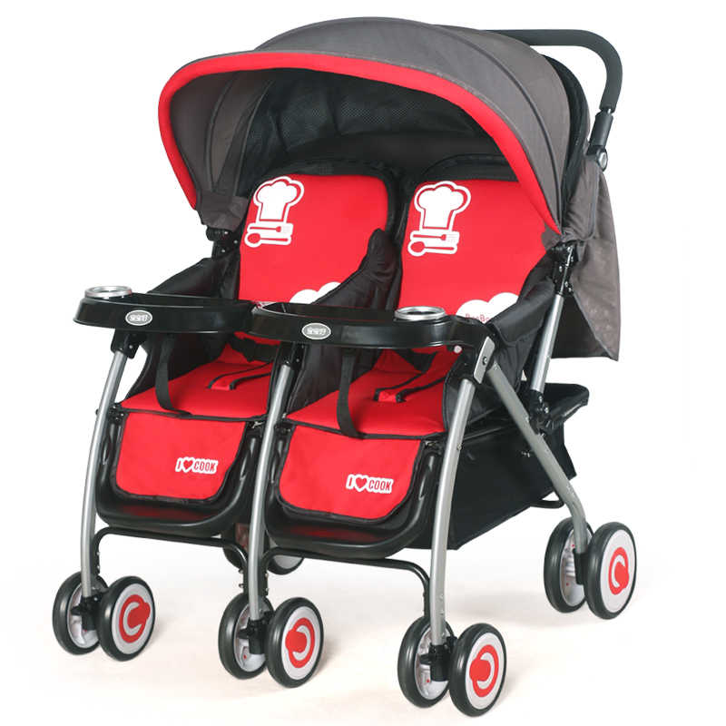 Baby Good Stroller, Twin Trolley, Foldable Two-way Can Sit, Lying Baby, Two Carrier