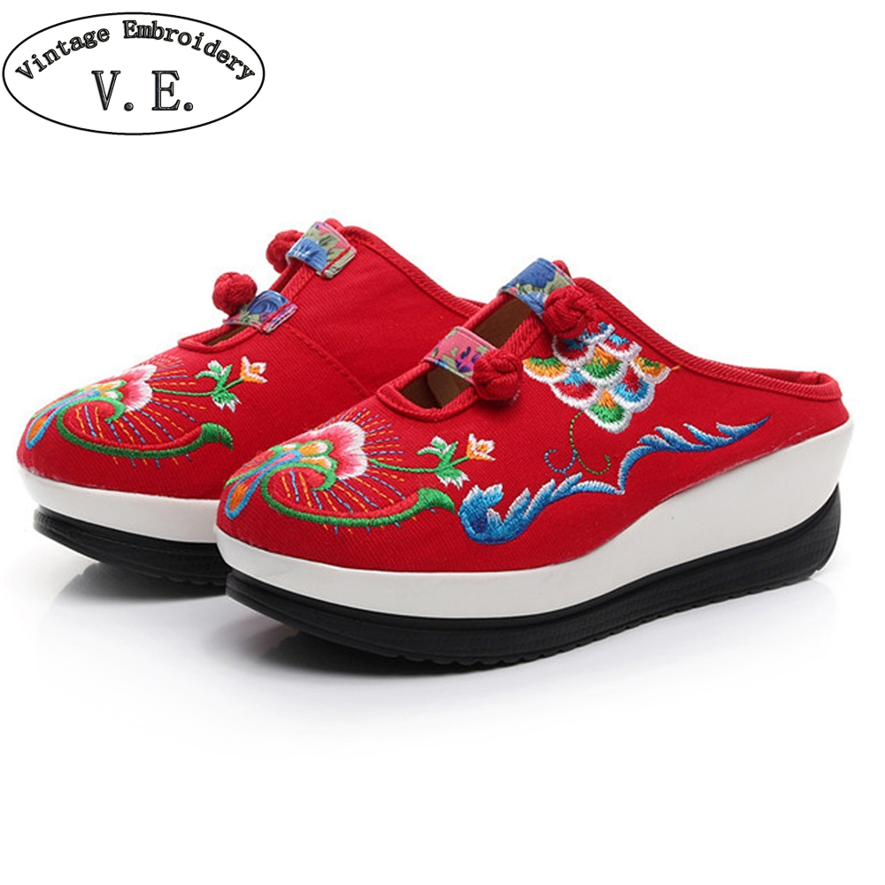 National Women Slippers Embroidered Floral Ladies Platforms Comfort Slip On Shoes Soft Cloth Sapato Feminino Woman vintage embroidery women flats chinese floral canvas embroidered shoes national old beijing cloth single dance soft flats