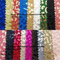 Iridescent Printed Leopard PU Leather Fabric for handbags shoes and DIY accessories P1313