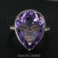 Bardzo Popularne Vintage Solidna 14Kt Rose Diamond Gold Fioletowy Ametyst Pierścień CT1320