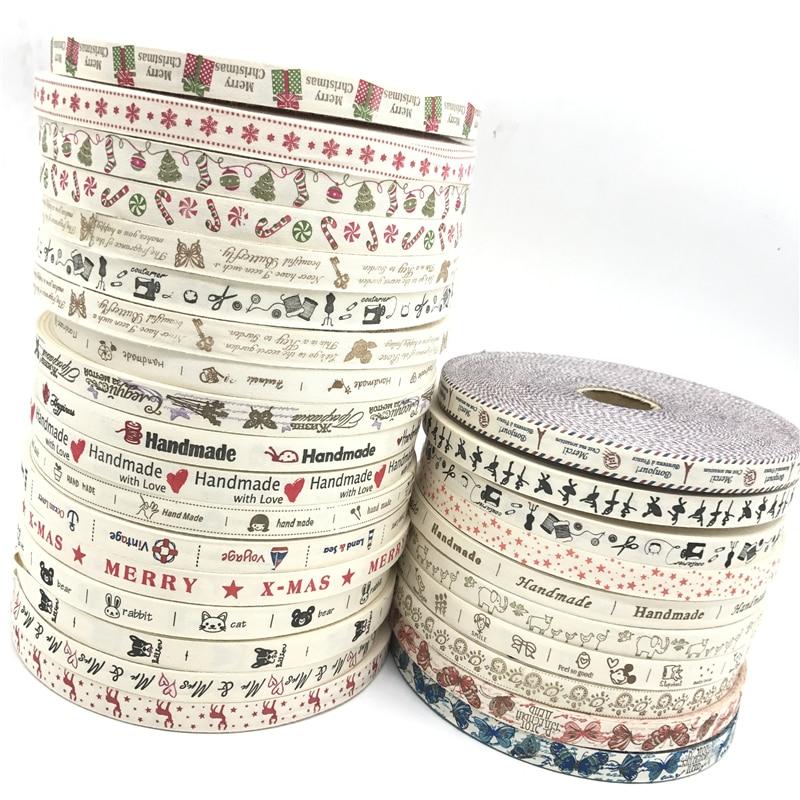 5 ярдов/лот 15 мм хлопчатобумажная лента ручной работы дизайн печатные хлопковые ленты для свадьбы Рождественское украшение DIY швейная ткань