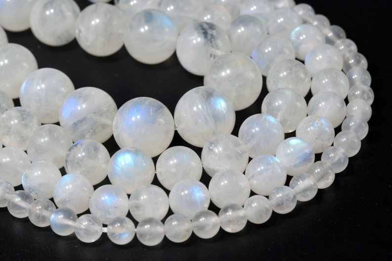 8mm Faceted Round A Grade Natural White Moonstone Gemstone Beads 12 Beads