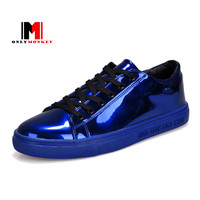 MOZOEYU Hot 2017 Glossy Vamp Men Casual Shoes Designer Superstar Lace Up Fashion Walking Shoes For