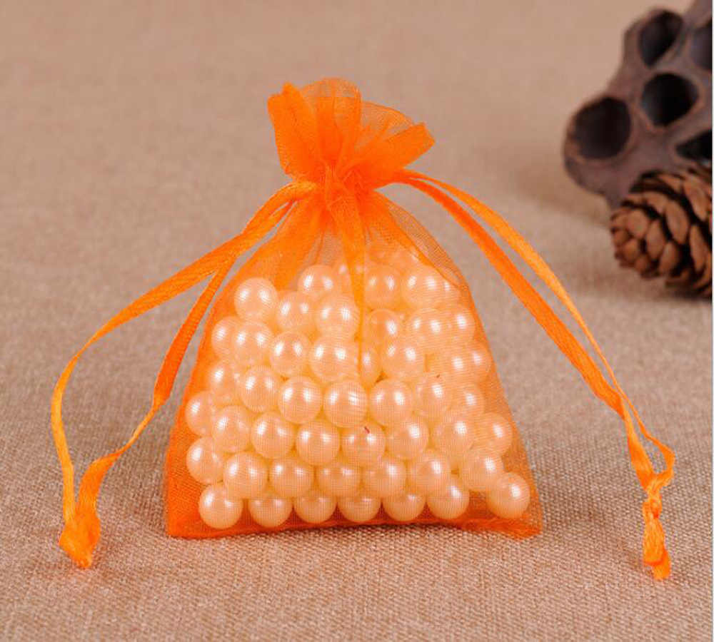 Casa 100 pcs Drawable Laranja Pequeno Grande Festa de Casamento de Organza Sacos Do Favor Sacos de Presente de Natal Sacos de Embalagem de Jóias Malotes