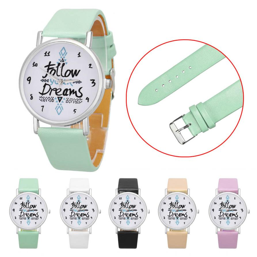 Hot SellingHF 2017 New Women Follow Dreams Words Pattern Leather Watch relogio masculino relogio feminino SP 12Levert Dropship sunward relogio feminino women dress watches follow dreams words pattern pu leather mint green stylish wholesale jan711