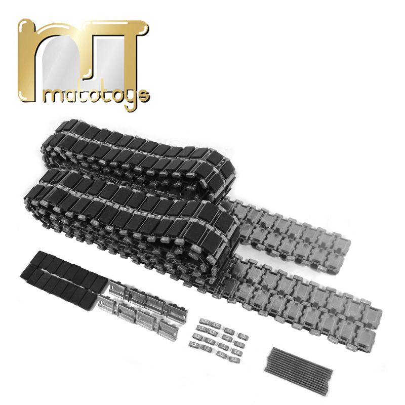 Mato 1:16 Metal Tracks With Rubber And Metal Pads For Heng Long 1/16 3908-1 British Challenger 2 RC Tank knl hobby heng long russian t 90 1 16 scale 2 4ghz r c main battle tank 3938 1 ultimate metal version metal gear tracks somke