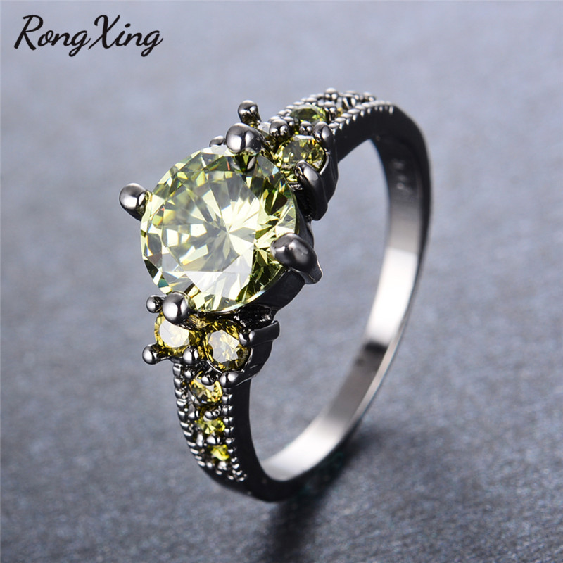 rongxing fashion olive green round zircon rings for women wedding gift vintage black gold filled august birthstone ring rb0908
