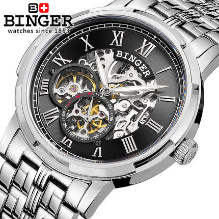 Switzerland Binger Men Hollow Sports Military Watches Brand Fashion Casual Automatic Wristwatch Men Roman Digital Watch