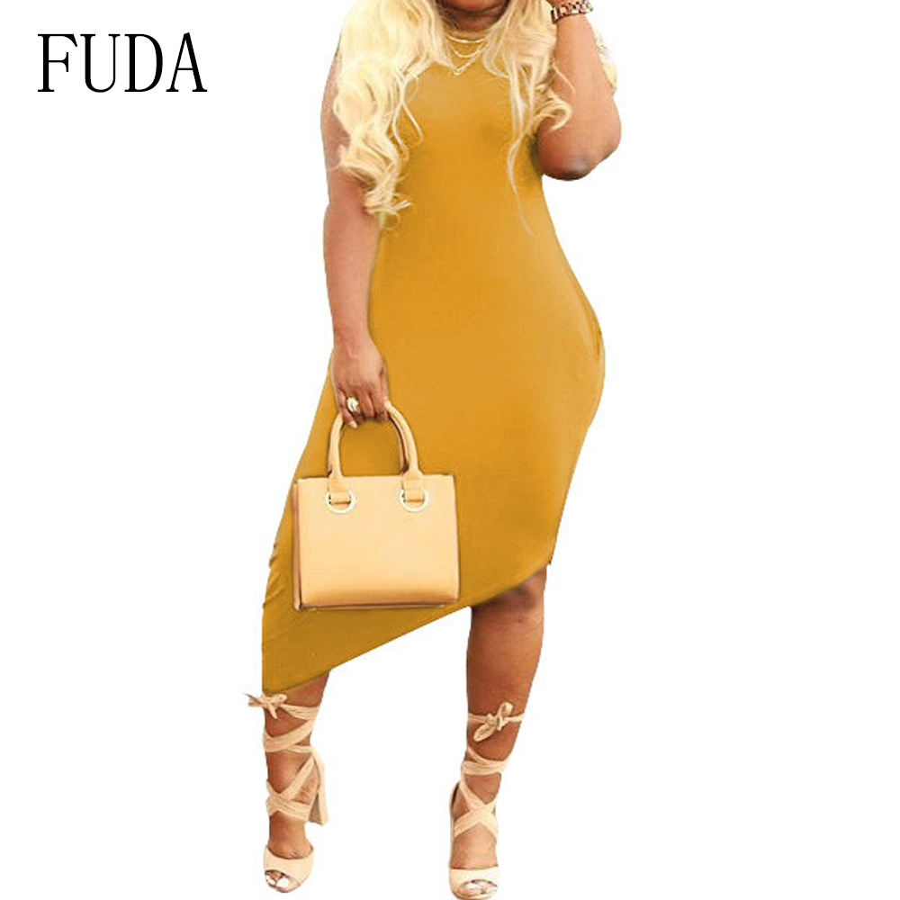 FUDA Women Casual Irregular Side Pocket Short Sleeve Dress Fashion O neck Hollow Out Dress Summer High Quality Street Vestidos in Dresses from Women 39 s Clothing