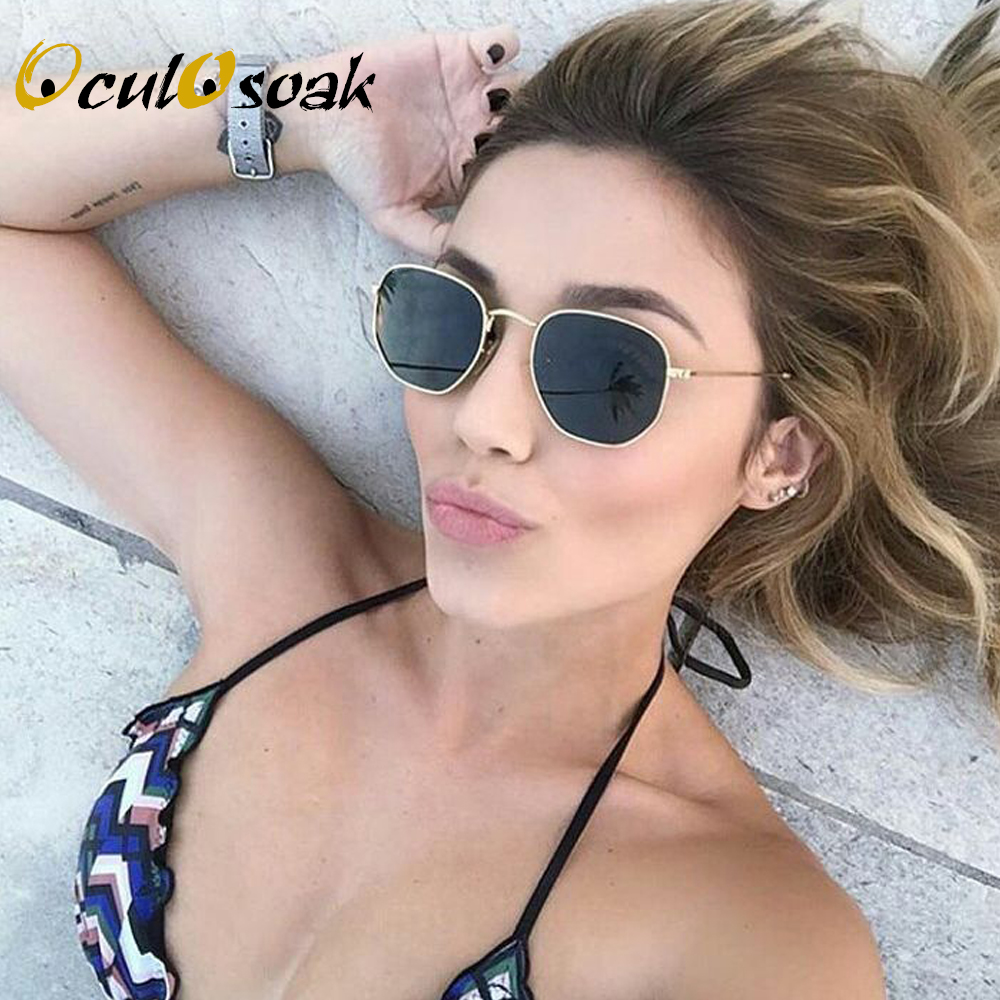 Sunglasses Women Brand Designer Small Frame Polygon Clear Lens Sunglasses Men Vintage Sun Glasses Hexagon Metal Frame with box in Women 39 s Sunglasses from Apparel Accessories