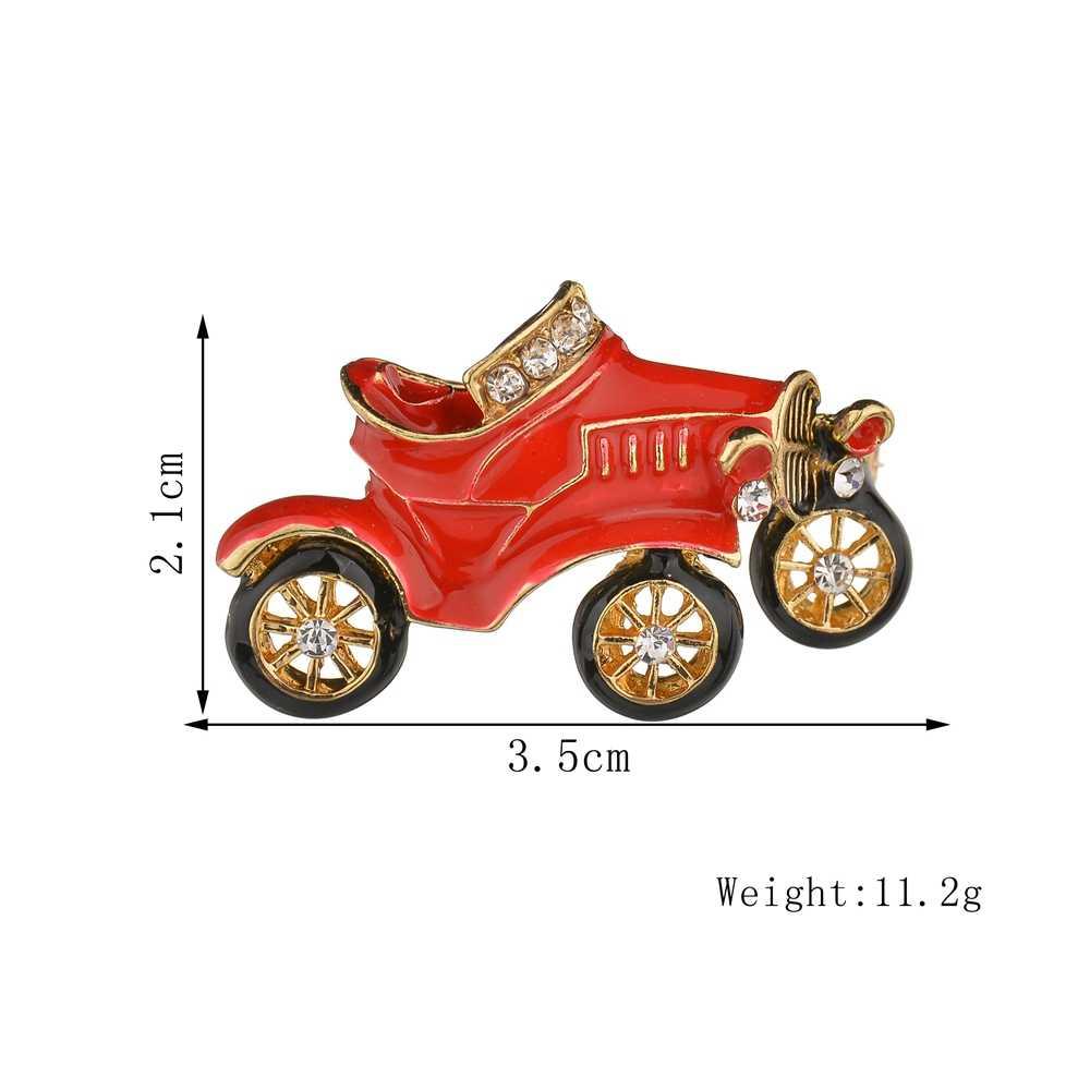 Misscycy Lucu Merah Mobil Antik Bros untuk Anak-anak Hadiah Natal 2018 Baru Logam Kerah Pin Lencana Pakaian Aksesoris